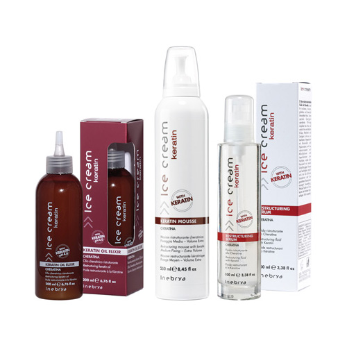 ICE CREAM KERATIN - mousse, serum, oil elixir - INEBRYA