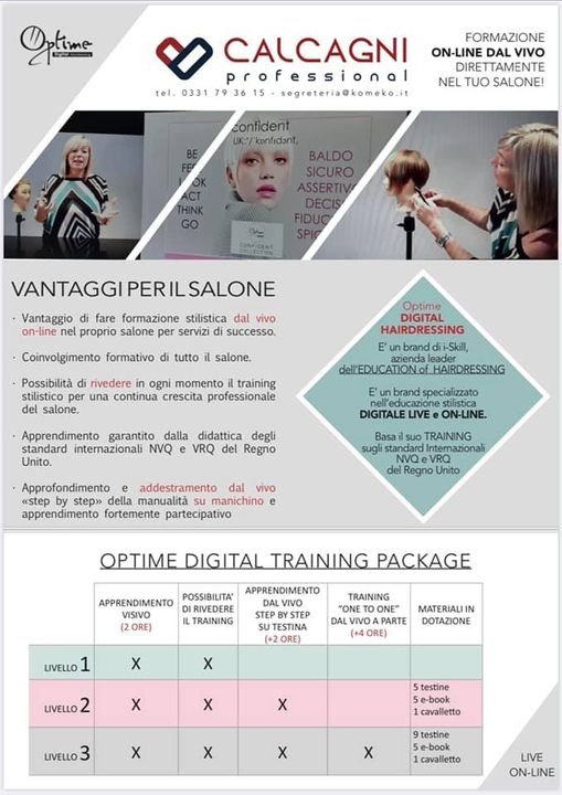 CALCAGNI ❤️ Formazione ON-LINE dal VIVO direttamente nel tuo Salone con Optime Digital Hairdressing!