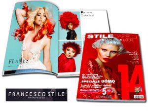 FRANCESCO STILE è stato pubblicato su STILE CAPELLI 14 come uno dei migliori parrucchieri di Italia