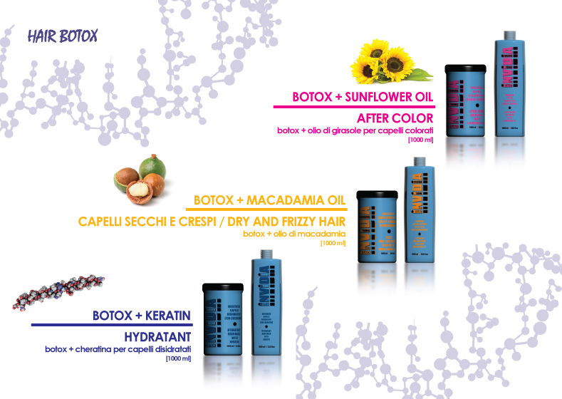 invidia botox linea prodotti botox + olio di girasole botox + olio di macadamia botox + cheratina